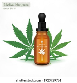 Marijuana and cannabis oil in a glass bottle. Green Marijuana Leaves, Cannabis leaf, pills and capsules. CBD oil benefits Medical uses. Vector EPS10