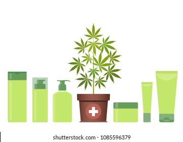 Marijuana or cannabis plant in pot with hemp cosmetic products. Cream, shampoo, soap, gel, lotion, balm. Natural ecological cosmetics. Medical cannabis. CBD oil hemp products. Bottle mock up. Vector.