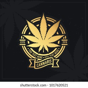 Marijuana, cannabis product label and logo graphic template