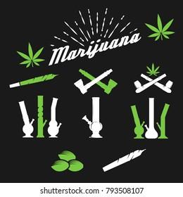 Marijuana , cannabis smoking vector.