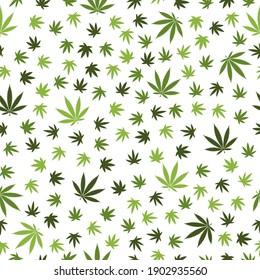 Marijuana Cannabis-Unkrautblatt Seamless-Muster-Hintergrund