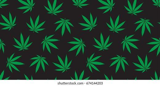 Marijuana cannabis weed leaf Seamless Pattern wallpaper background green