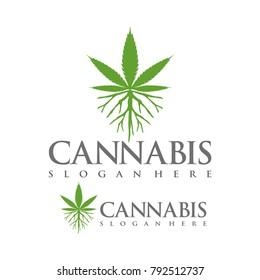 marijuana, cannabis, weed logo design template vector illustration