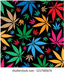 marijuana color pattern on black background
