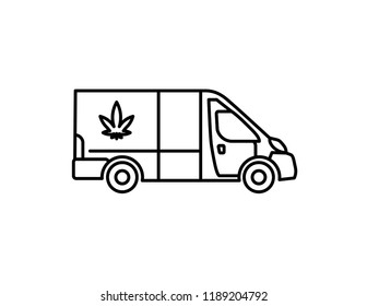 Marijuana delivery vector black line art symbols on white background for commercial business medical cannabis health services website