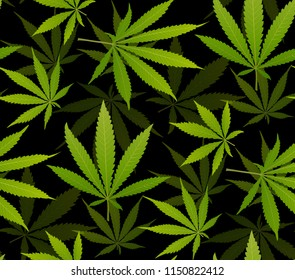 Marijuana Frame Green Leaf and black marijuana seamless pattern. Cannabis marijuana hemp leaf in white color Vector Illustration background.