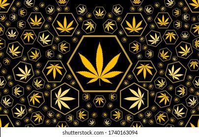 Marijuana Frame Green Leaf and Golden marijuana seamless pattern. Cannabis marijuana hemp leaf Vector Illustration background for textile. Cannabis green and golden leaves seamless marijuana pattern.