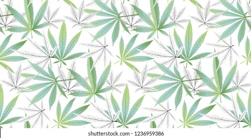 Marijuana Green Leaf and black drawing marijuana seamless pattern. Cannabis marijuana hemp leaf in white color Vector Illustration background.