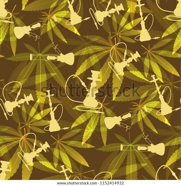 Marijuana Green Leaf and hookah seamless pattern. Cannabis  hemp leaf in dark color Vector Illustration background.