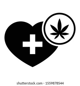 Marijuana for Heart and cardiovascular diseases vector icon design