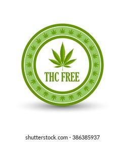 Marijuana hemp (Cannabis sativa or Cannabis indica) leaf icon or badge with title THC FREE on white background