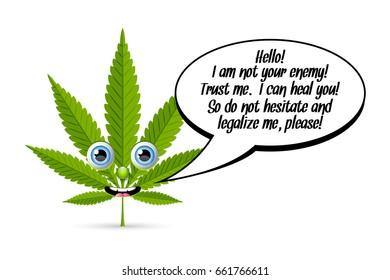 Marijuana hemp (Cannabis sativa or Cannabis indica) leaf character with comic speech bubble on white background.