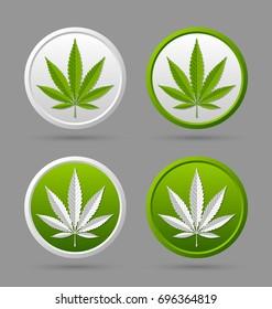 Marijuana hemp (Cannabis sativa or Cannabis indica) leaf badges on grey background