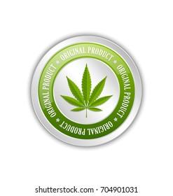 Marijuana hemp (Cannabis sativa or Cannabis indica) leaf original product badge on white background
