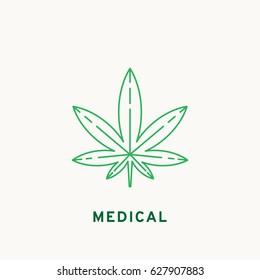 Marijuana icon, line design. Vector illustration