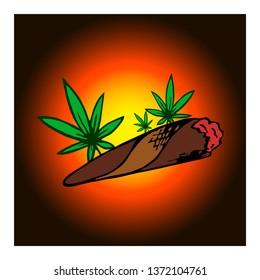 Marijuana joint, blunt or spliff. Medical marijuana rolled cigarette.