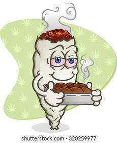 Marijuana Joint Cartoon Character with Pot Brownies