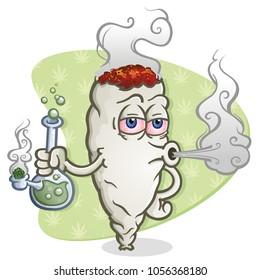 Marijuana Joint Cartoon Character Smoking a Bong