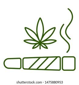 Marijuana joint, spliff. Cigarette with drug, marijuana cigarette rolled. Isolated vector illustration on white background.