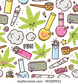 Marijuana kawaii cartoon seamless vector pattern white