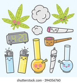 Marijuana kawaii cartoon vector objects pack