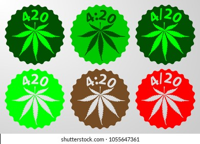 Marijuana leaf - 420, 4:20, 4/20 text green, brown  and red vector illustration, International day for cannabis, April 20,