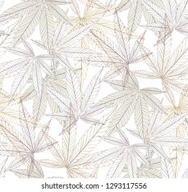 Marijuana Leaf and black drawing marijuana seamless pattern. Cannabis marijuana hemp leaf in white color Vector Illustration background.
