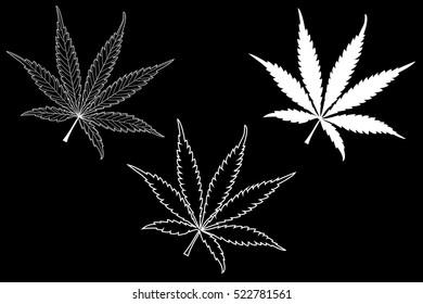 Marijuana leaf, cannabis, cannabis leaf set,