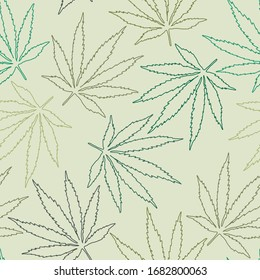 Marijuana leaf green and yellow repeating vector pattern with editable background