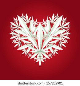 Marijuana leaf heart symbol vector illustration