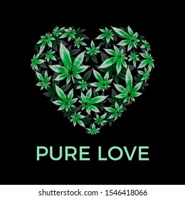 Marijuana leaf heart vector illustration