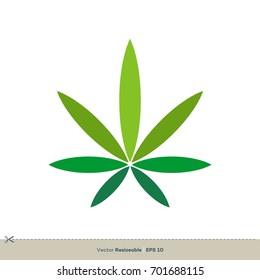 Marijuana Leaf Hemp Weed Icon Vector Logo Template Illustration Design. Vector EPS 10.