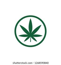marijuana leaf icon drug symbol logo template