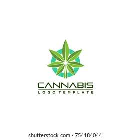 marijuana leaf logo brand template