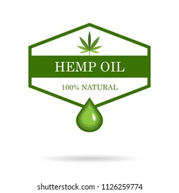 Marijuana leaf. Medical cannabis. Hemp oil. Cannabis extract. Icon product label and logo graphic template. Isolated vector illustration