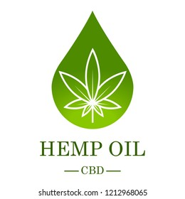 Marijuana leaf. Medical cannabis. Hemp oil. Cannabis extract. Icon product label and logo graphic template. Isolated vector illustration.