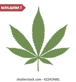Marijuana leaf. Medical cannabis plant. Isolated on white. Graphic design element for printables, web, prints, t-shirt. Vector illustration.