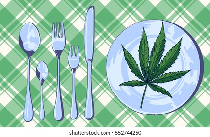 Marijuana leaf on the pate with knife, fork and spoon