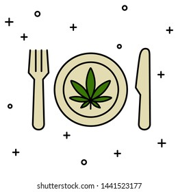 Marijuana leaf on the plate with knife and fork. Cannabis food. Isolated vector illustration on white background.