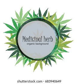 Marijuana leafs. Cannabis plant background. Hand drawn style.