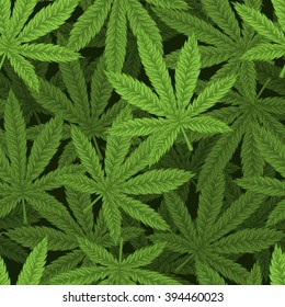 Marijuana leafs seamless pattern. Hand drawn vector illustration.
