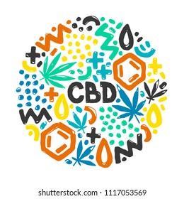 Marijuana leaves and cannabis oil. CBD oil vector illustration. Doodle elements arranged in a circle.