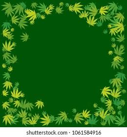 Marijuana leaves dark green blank circle frame. Hand drawn narcotic cannabis border. Hemp vector background illustration.