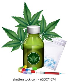 Marijuana leaves and different products illustration