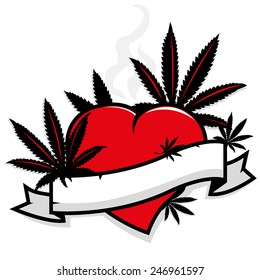 Marijuana leaves on heart and banner.