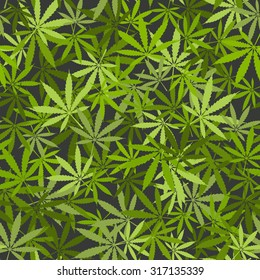 marijuana leaves seamless background. vector illustration - eps 8