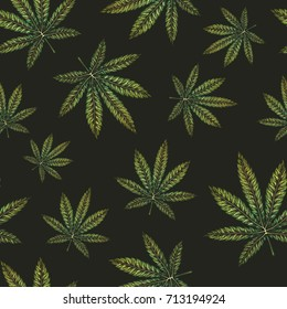 Marijuana leaves seamless pattern. Hand drawn vector illustration.