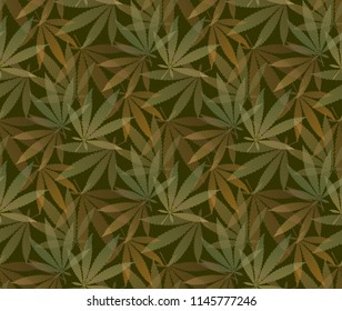 Marijuana leaves seamless vector pattern. Cannabis plant green background. Dense vegetation of ganja.