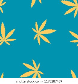 Marijuana leaves vector blue seamless pattern for wrapping, craft, textile, fabric