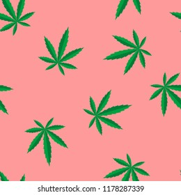 Marijuana leaves vector pink seamless pattern for wrapping, craft, textile, fabric